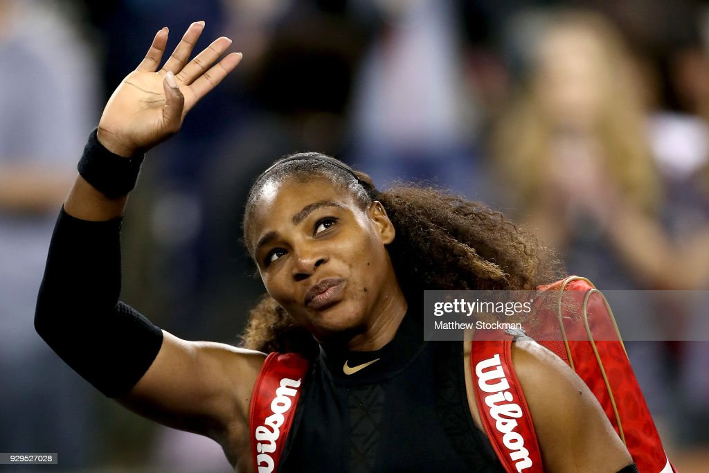 Serena Williams leaves the court after defeating Zarina Diyas of Kazakhstan during the BNP Paribas Open at the Indian Wells Tennis Garden on March 8, 2018 in Indian Wells, California.