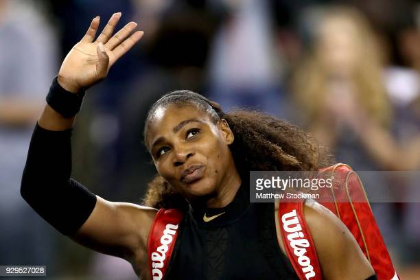 Serena Williams leaves the court after defeating Zarina Diyas of Kazakhstan during the BNP Paribas Open at the Indian Wells Tennis Garden on March 8...