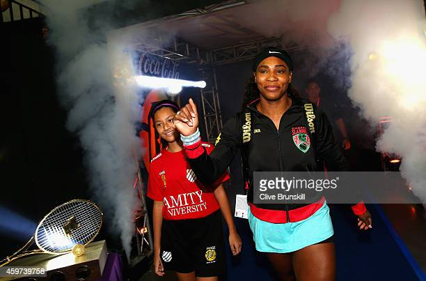 Serena Williams of the Singapore Slammers makes her debut on day three against the Manila Mavericks during the Coca-Cola International Premier Tennis...