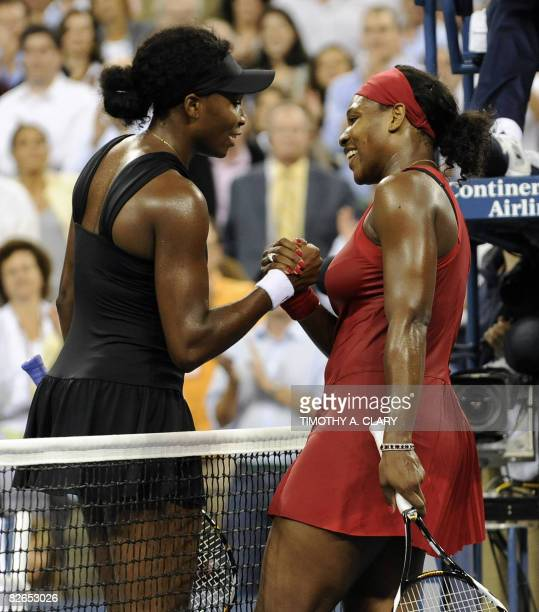 Serena Williams of the United States after winning during her quarterfinal match against Venus Williams of the United States at the US Open tennis...