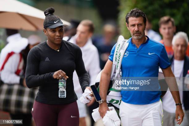 Serena Williams of the United States and her coach Patrick Mouratoglou of the United States seen at Aorangi Park ahead of a practice session during...