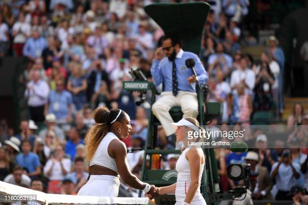 Serena Williams of The United States and Kaja Juvan of Slovenia shake hands at the net after their Ladies' Singles second round match during Day four...