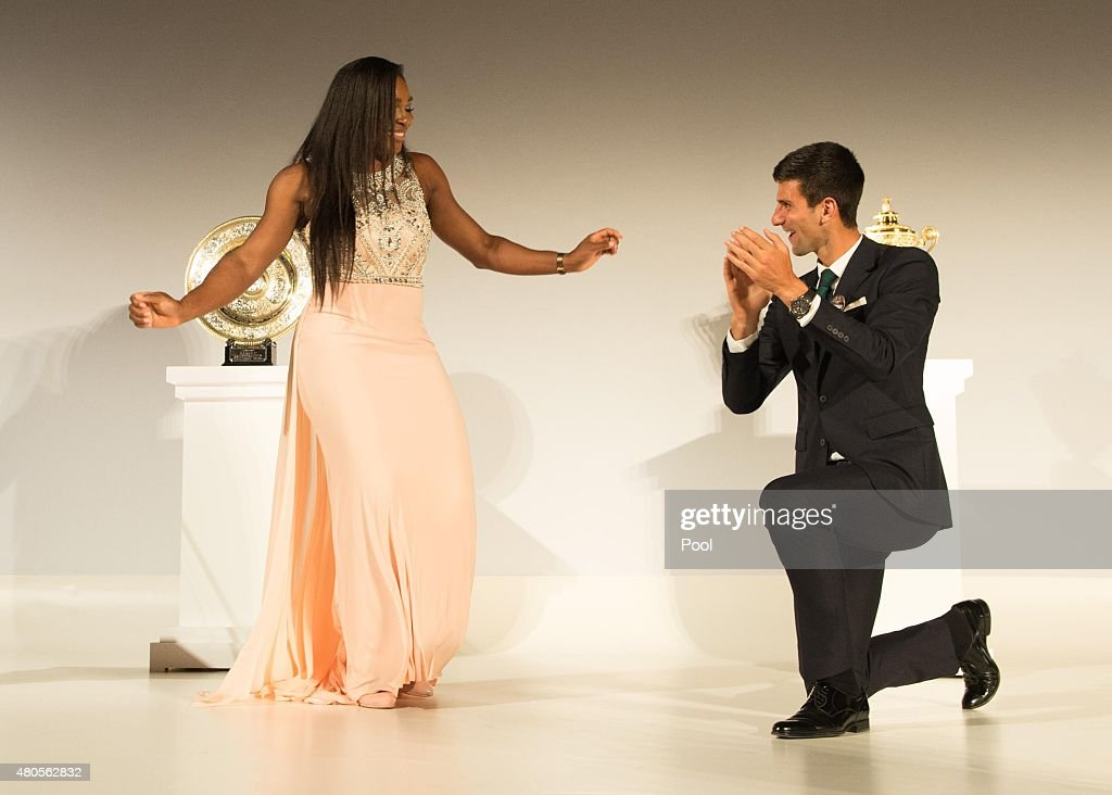 Serena Williams of the United States and Novak Djokovic of Serbia dance on stage at the Champions Dinner at the Guild Hall on day thirteen of the Wimbledon Lawn Tennis Championships at the All England Lawn Tennis and Croquet Club on July 12, 2015 in London, England.