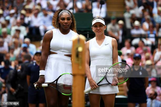 Serena Williams of The United States and Simona Halep of Romania pose for a photo prior to their Ladies' Singles final match during Day twelve of The...