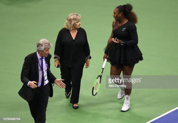 Serena Williams of the United States argues with grand slam supervisor Donna Kelso and referee Brian Earley during her Women's Singles finals match...