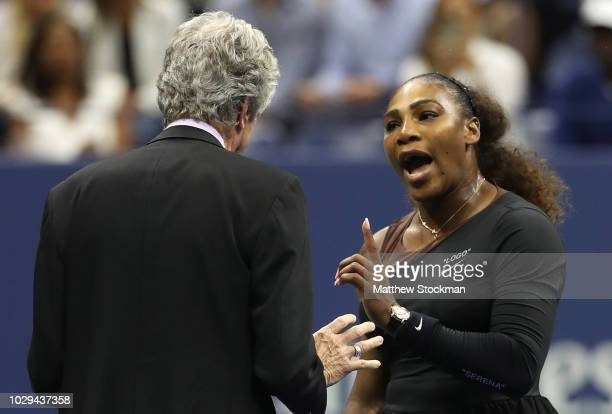 Serena Williams of the United States argues with referee Brian Earley during her Women's Singles finals match against Naomi Osaka of Japan on Day...