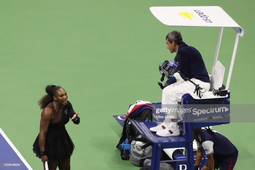 Serena Williams of the United States argues with umpire Carlos Ramos during her Women's Singles finals match against Naomi Osaka of Japan on Day Thirteen of the 2018 US Open at the USTA Billie Jean King National Tennis Center on September 8, 2018 in the Flushing neighborhood of the Queens borough of New York City.