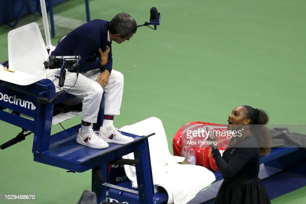 Serena Williams of the United States argues with umpire Carlos Ramos during her Women's Singles finals match against Naomi Osaka of Japan on Day...