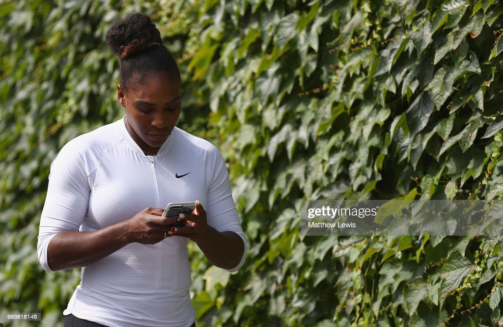 Serena Williams of the United States arrives for practise on the middle sunday ahead of the fourth round at All England Lawn Tennis and Croquet Club on July 8, 2018 in London, England.