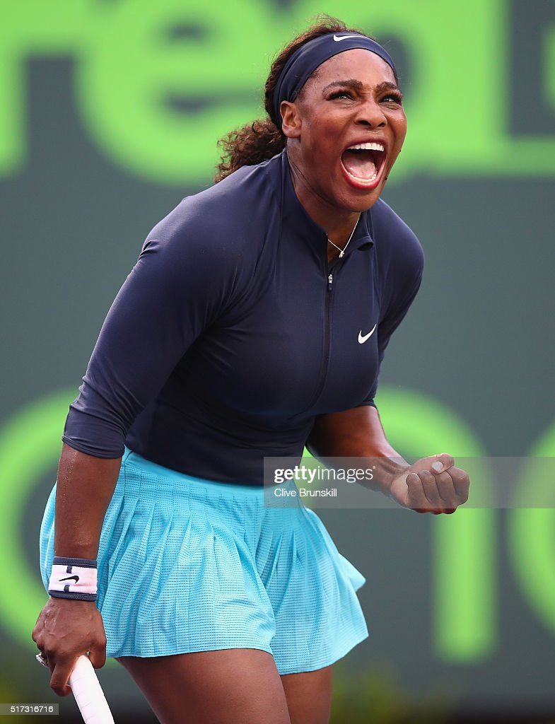 Serena Williams of the United States celebrates a point against Christina McHale of the United States in their second round match during the Miami Open Presented by Itau at Crandon Park Tennis Center on March 24, 2016 in Key Biscayne, Florida.