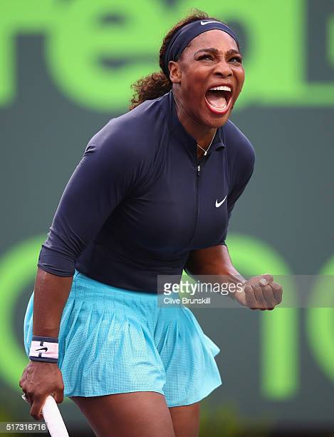 Serena Williams of the United States celebrates a point against Christina McHale of the United States in their second round match during the Miami...