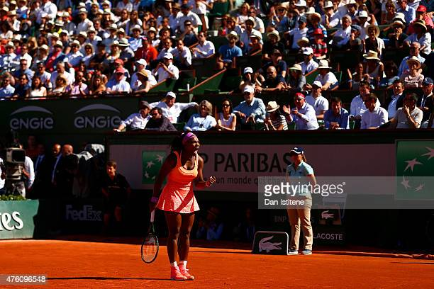 Serena Williams of the United States celebrates a point during her Women's Singles Final against Lucie Safarova of Czech Repbulic on day fourteen of...