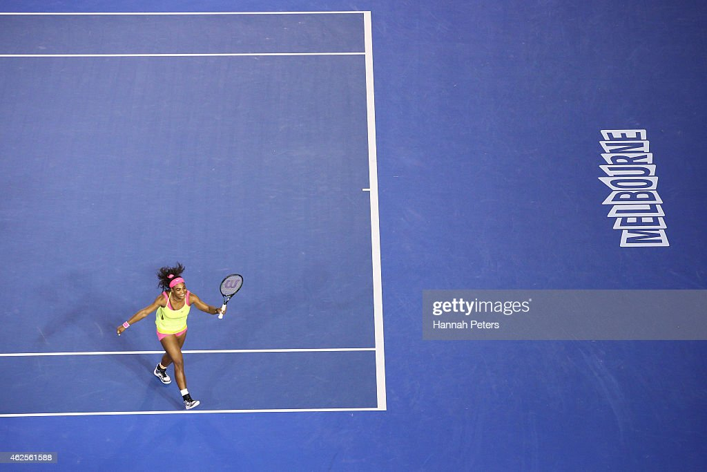 Serena Williams of the United States celebrates a point in her women's final match against Maria Sharapova of Russia during day 13 of the 2015 Australian Open at Melbourne Park on January 31, 2015 in Melbourne, Australia.