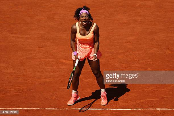 Serena Williams of the United States celebrates a point in the Women's Singles Final against Lucie Safarova of Czech Republic on day fourteen of the...