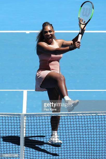 Serena Williams of the United States celebrates a shot in her singles match against Maria Sakkari of Greece during day three of the 2019 Hopman Cup...