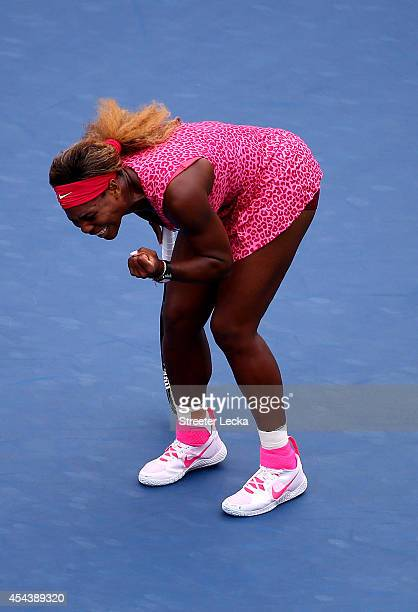 Serena Williams of the United States celebrates after defeating Varvara Lepchenko of the United States in their women's singles third round match on...