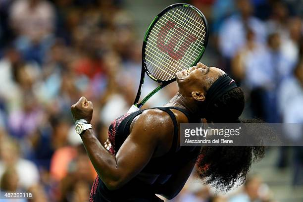 Serena Williams of the United States celebrates after defeating Venus Williams of the United States in their Women's Singles Quarterfinals match on...