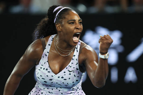 Serena Williams of the United States celebrates after winning a point during her Women's Singles second round match against Tamara Zidansek of...