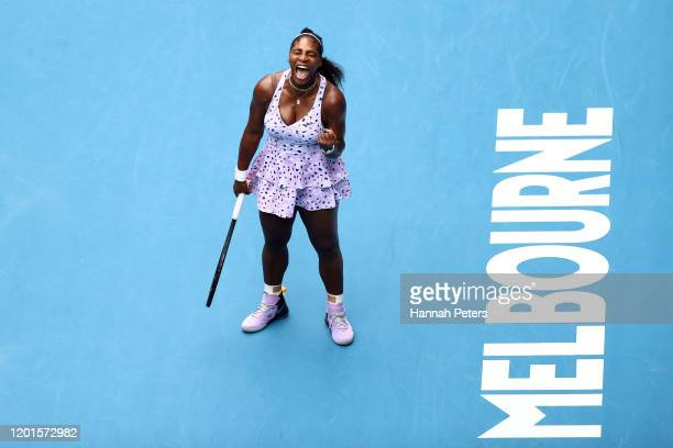 Serena Williams of the United States celebrates after winning a point during her Women's Singles third round match against Qiang Wang of China on day...