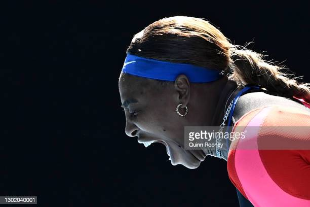 Serena Williams of the United States celebrates after winning a point in her Women's Singles fourth round match against Aryna Sabalenka of Belarus...