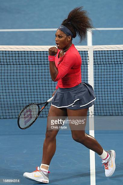 Serena Williams of the United States celebrates after winning a point during her final match against Anastasia Pavlyuchenkova of Russia on day seven...
