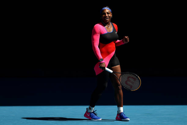 Serena Williams of the United States celebrates after winning match point in her Women's Singles fourth round match against Aryna Sabalenka of...
