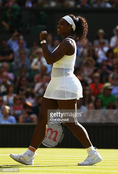 Serena Williams of the United States celebrates after winning the Ladies Singles Semi Final match against Maria Sharapova of Russia during day ten of...