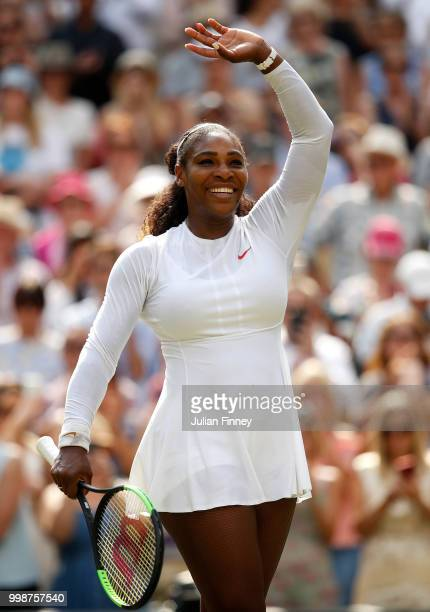 Serena Williams of The United States celebrates defeating Julia Goerges of Germany during their Ladies' Singles semifinal match on day ten of the...
