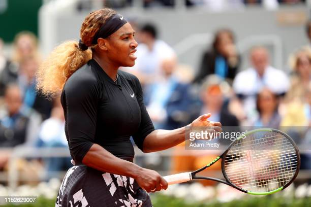 Serena Williams of The United States celebrates during her ladies singles first round match against Kurumi Nara of Japan during Day five of the 2019...