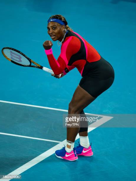 Serena Williams of the United States celebrates during her match against Simon Halep of Romania during day nine of the 2021 Australian Open at...
