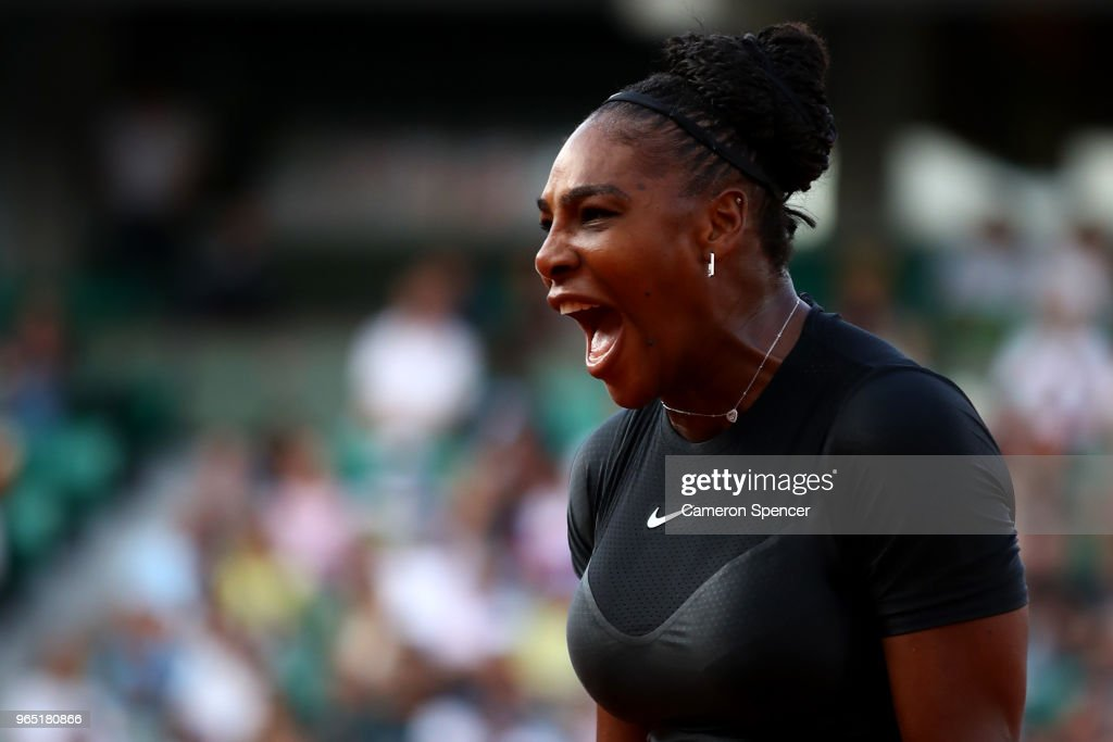 Serena Williams of The United States celebrates during the ladies singles second round match against Ashleigh Barty of Ausralia during day five of the 2018 French Open at Roland Garros on May 31, 2018 in Paris, France.