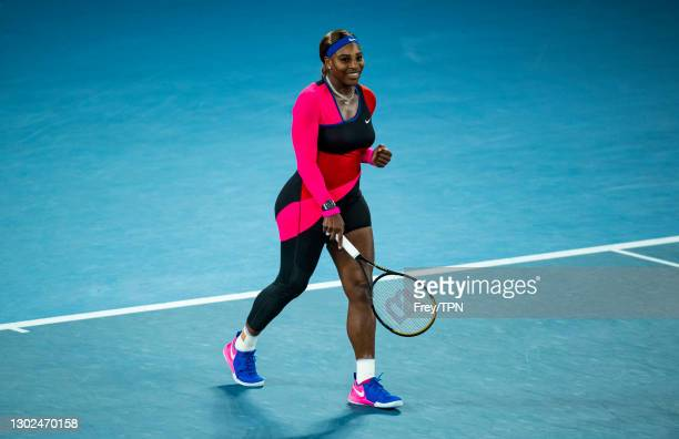 Serena Williams of the United States celebrates her victory over Simon Halep of Romania during day nine of the 2021 Australian Open at Melbourne Park...