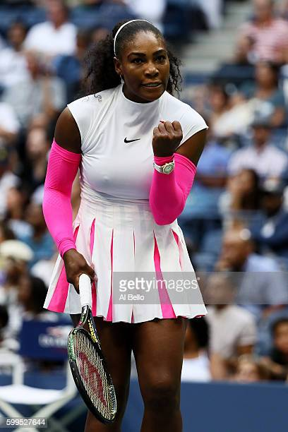 Serena Williams of the United States celebrates her win over Yaroslava Shvedova of Kazakhstan during her fourth round Women's Singles match on Day...