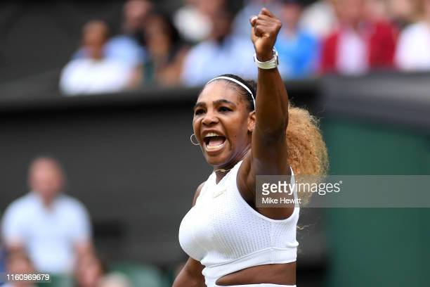 Serena Williams of the United States celebrates in her Ladies' Singles Quarter Final match against Alison Riske of the United States during Day Eight...