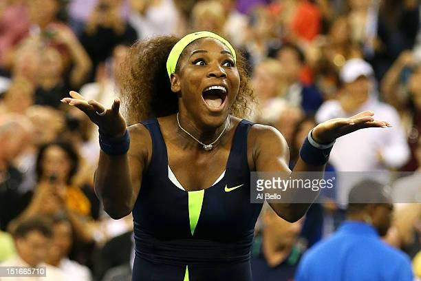 Serena Williams of the United States celebrates match point after defeatig Victoria Azarenka of Belarus to win the women's singles final match on Day...