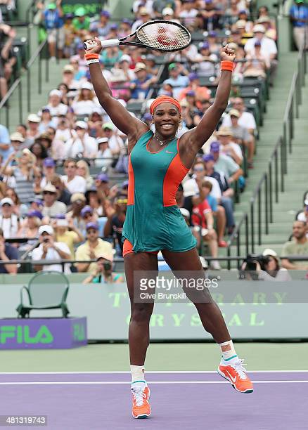 Serena Williams of the United States celebrates match point against Li Na of China during their final match during day 13 at the Sony Open at Crandon...