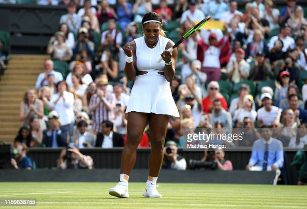 Serena Williams of The United States celebrates match point in her Ladies' Singles first round match against Giulia GattoMonticone of Italy during...