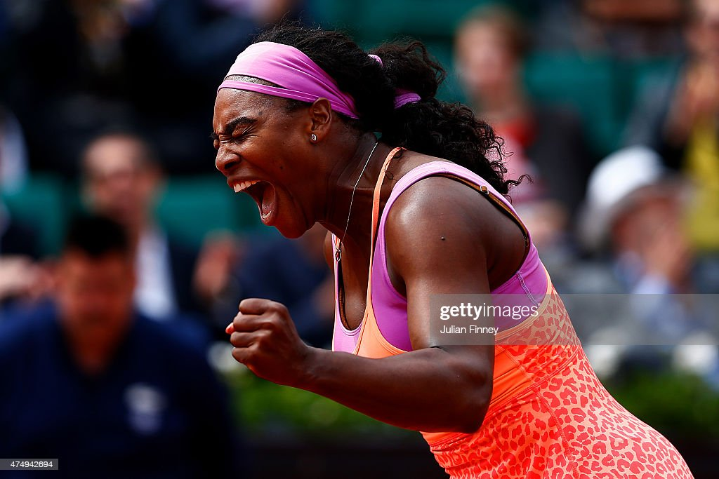 Serena Williams of the United States celebrates match point in her Women's Singles match against Anna-Lena Friedsam of Germany on day five of the 2015 French Open at Roland Garros on May 28, 2015 in Paris, France.