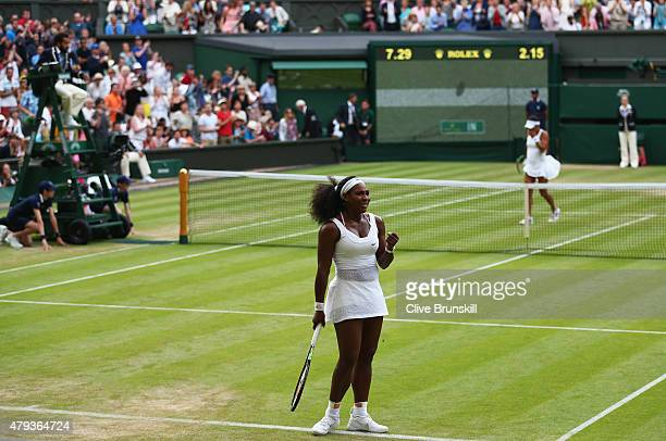 Serena Williams of the United States celebrates match point in her Ladies' Singles Third Round match against Heather Watson of Great Britain during...