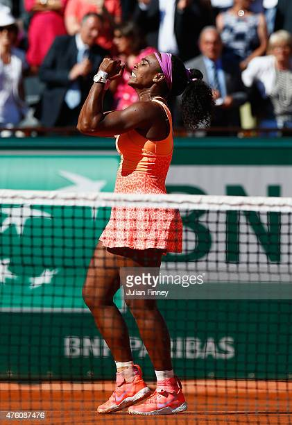 Serena Williams of the United States celebrates match point in the Women's Singles Final against Lucie Safarova of Czech Republic on day fourteen of...
