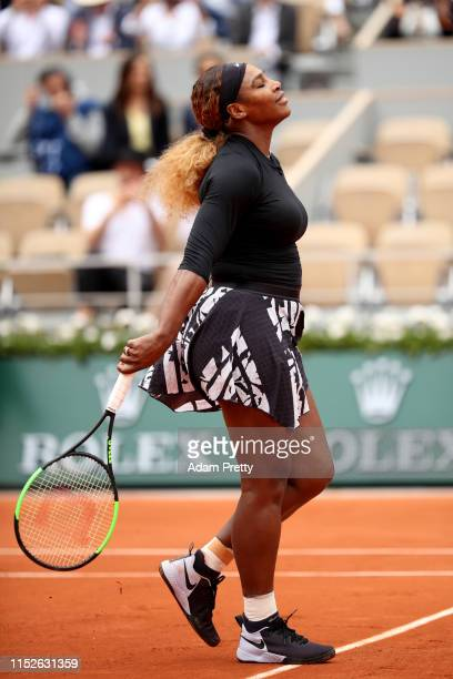 Serena Williams of The United States celebrates victory during her ladies singles first round match against Kurumi Nara of Japan during Day five of...