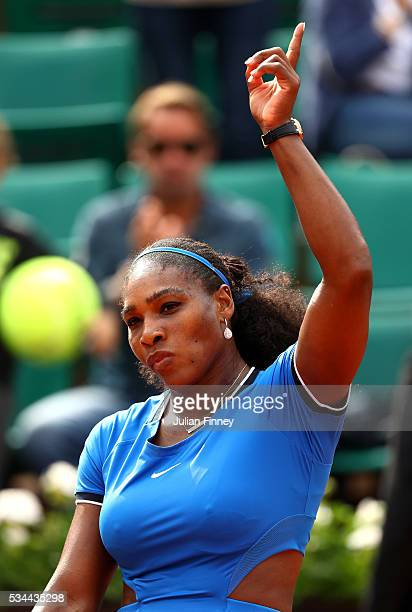Serena Williams of the United States celebrates victory during the Ladies Singles second round match against Teliana Pereira of Brazil on day five of...