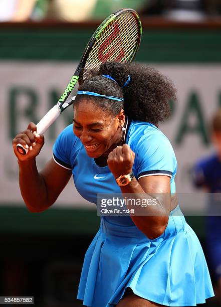 Serena Williams of the United States celebrates victory during the Ladies Singles third round match against Kristina Mladenovic of France on day...
