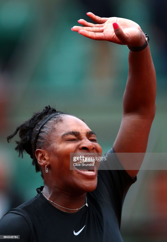 Serena Williams of The United States celebrates victory during the ladies singles second round match against Ashleigh Barty of Ausralia during day five of the 2018 French Open at Roland Garros on May 31, 2018 in Paris, France.