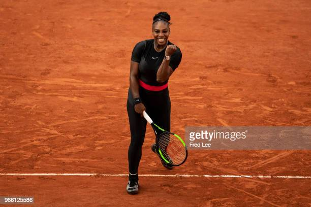 Serena Williams of The United States celebrates victory during the ladies singles third round match against Julia Georges of Germany during day seven...