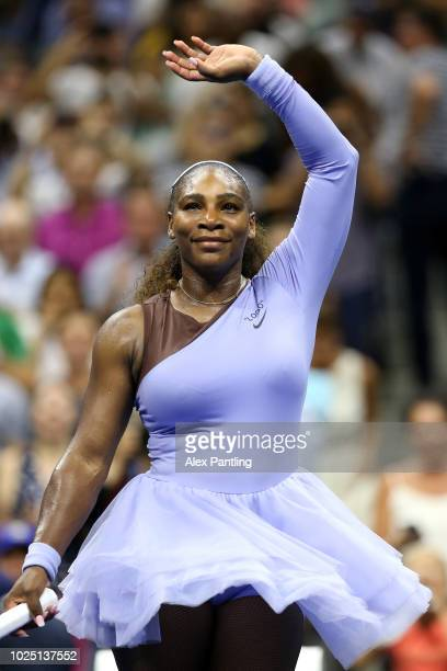 Serena Williams of the United States celebrates victory following her women's singles second round match against Carina Witthoeft of Germany on Day...
