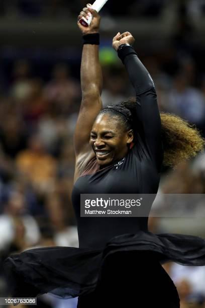 Serena Williams of the United States celebrates victory following the women's singles quarterfinal match against Karolina Pliskova of Czech Republic...