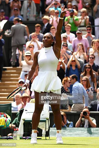 Serena Williams of The United States celebrates victory following the Ladies Singles first round match against Amra Sadikovic of Switzerland on day...