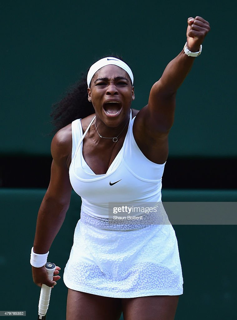 Serena Williams of the United States celebrates winning a point in her Ladies Singles Quarter Final match against Victoria Azarenka of Belarus during day eight of the Wimbledon Lawn Tennis Championships at the All England Lawn Tennis and Croquet Club on July 7, 2015 in London, England.