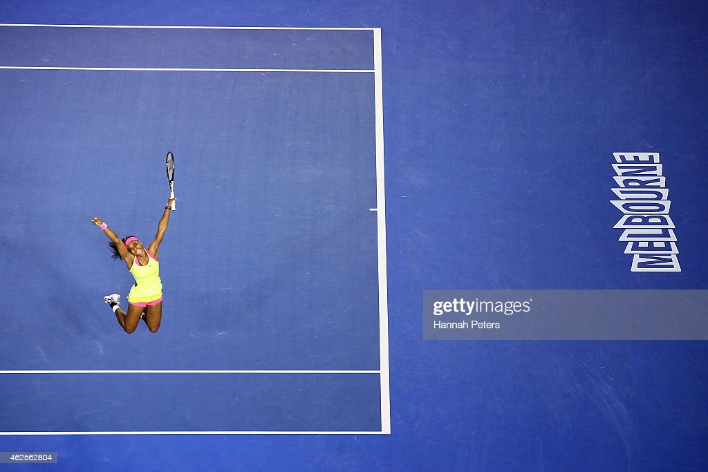 Serena Williams of the United States celebrates winning championship point in her women's final match against Maria Sharapova of Russia during day 13 of the 2015 Australian Open at Melbourne Park on January 31, 2015 in Melbourne, Australia.